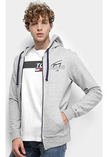 Jaqueta Moletom Tommy Jeans Essential Graphic Zip Thru Masculino - Masculino-Cinza