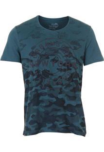 Camiseta Camuflada Masculina Km - Verde Escuro