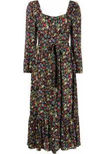 Hvn Vestido Longo Com Estampa Floral - Colorido