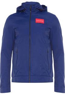Jaqueta Masculina Com Capuz Logo - Azul