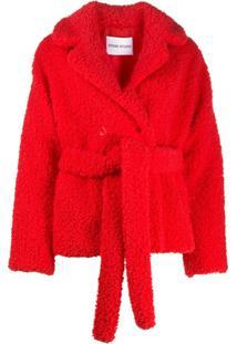 Stand Studio Jaqueta Tiffany Com Cinto E Pelos - Vermelho