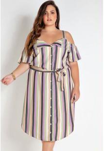 Vestido Plus Size Listrado Com Fio Metalizado