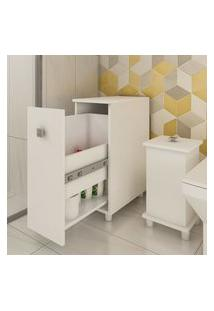 Armário Para Banheiro 1 Gaveta Multiuso Branco Lilies Móveis