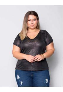 Blusa Plus Size Palank Cristiane Feminina - Feminino-Preto
