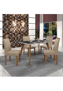 Conjunto De Mesa De Jantar Lavinia Com 4 Cadeiras Pampulha Ii Linho Imbuia Mel Preto