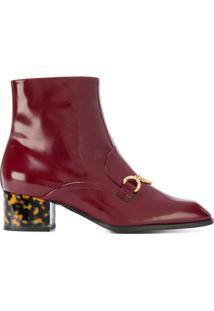 Stella Mccartney Ankle Boot Com Detalhe De Corrente - Vermelho