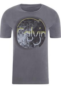 Camiseta Masculina Estampa E Relevo - Cinza