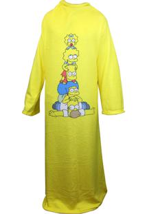 Cobertor Zona Criativa Com Mangas Simpsons Amarelo