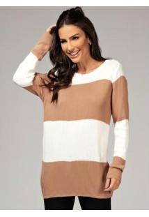 Suéter Em Tricot Off White E Caramelo