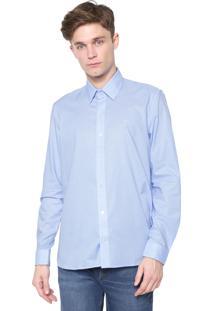 Camisa Lacoste Slim Quadriculada Azul