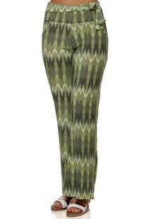 Calça De Tecido Feminina Verde Claro