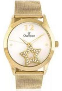 Kit Relógio Champion Analógico Social Feminino - Feminino-Dourado