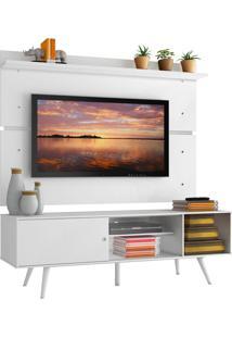 Rack Madesa Cairo E Painel Para Tv Atã© 65 Polegadas Com Pã©S De Madeira - Branco Branco - Branco - Dafiti