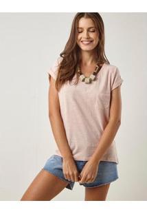 Blusa Malha Decote V Com Bolso Feminina - Feminino-Rosa