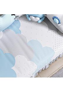 Edredom Bebê Nuvem De Algodão Azul Estampado Grão De Gente Azul