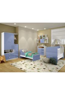Conj. Quarto Infantil Completo Alladin Berço-Cama(Reversivel) C/ Roupeiro E Cômoda E Nicho Azul