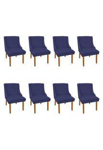Kit 08 Cadeiras De Jantar Liz Suede Azul Marinho Pés Palito Castanho D'Rossi