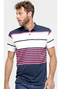 Camisa Polo Aleatory Malha Fio Tinto Listras Masculina - Masculino