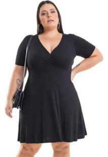 819d9dcf3 ... Vestido Viscolycra Transpassado Miss Masy Plus Size - Feminino-Preto