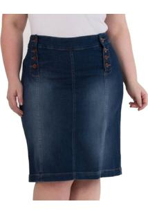 922366427c ... Saia Confidencial Extra Plus Size Midi Jeans Com Botões Feminina -  Feminino-Azul Escuro