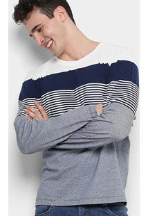 Camiseta Forum Listras Color Manga Longa Masculina - Masculino