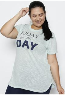 "Camiseta Flamê ""Today Is The Day"" - Verde Claro & Azul"