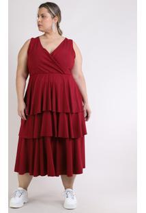 Vestido Feminino Mindset Plus Size Midi Canelado Alças Largas Com Babados Vinho