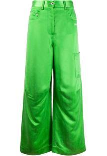 Off-White Calça Pantalona - Verde