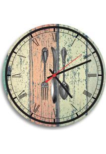 Relógio De Parede Decorativo Talheres Fundo Colorido Pátina Único