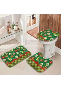 Jogo Tapetes Para Banheiro Retro Presentes Verde Único - Kanui