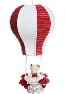 Lustre Balão Cintura Ursa Vermelha Potinho De Mel Vermelho