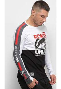 Camiseta Ecko Listras Manga Longa Masculina - Masculino