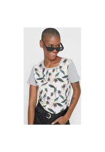 Camiseta Roxy Lubar Shir Cinza/Branca