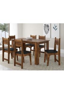 Conjunto Sala De Jantar Mesa 6 Cadeiras Nicoli Sonetto Móveis Castanho Rústico/Preto