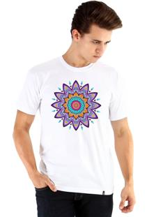 Camiseta Ouroboros Mandala Florescnt Branco