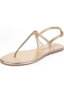 Sandália Rasteira Mercedita Shoes Metalizada Dourada Tiras Prata Bronze Ultra Conforto