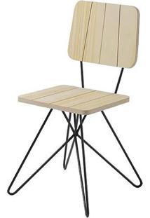 Cadeira Costinha Pinus Com Base Estrela Preta - 49554 Sun House