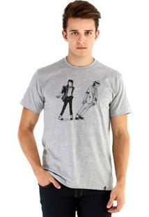Camiseta Ouroboros Manga Curta Michael Jackson - Masculino-Cinza