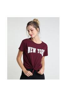 """Blusa Feminina New York"""" Com Nó Manga Curta Decote Redondo Vinho"""""""