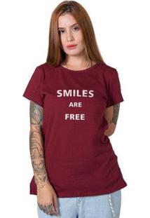 Camiseta Stoned Smiles Feminina - Feminino-Bordô