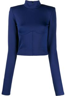 Unravel Project Blusa Slim Com Bustier - Azul