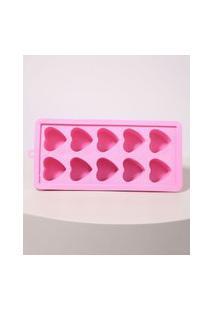 Forma De Silicone Coração 10 Cavidades Rosa