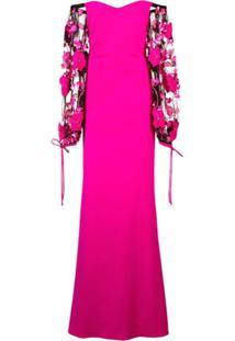 Badgley Mischka Off The Shoulder Appliqué Sleeve Gown - Rosa