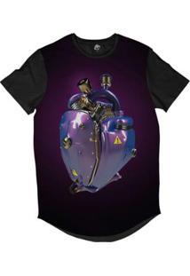 Camiseta Longline Bsc Coração De Máquina Motor Roxo Sublimada Roxo Fosco - Masculino-Roxo