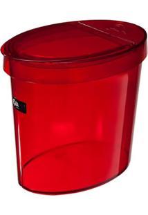 Lixeira Oval Glass 5 Litros Vermelho Transparente Coza
