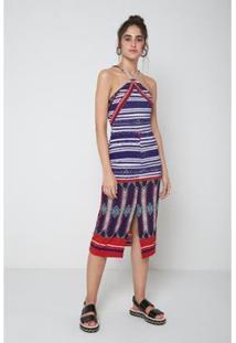 Vestido Midi Est Cacique Est Cacique - Oh, Boy! - Feminino-Roxo+Vermelho
