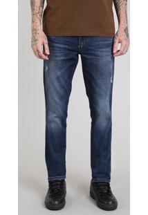 Calça Jeans Masculina Slim Com Puídos Azul Escuro