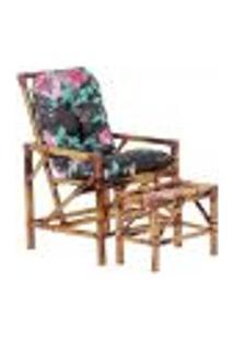 Conjunto Mesa E Cadeira De Bambu Cancun Para Área Edicula Jardim G18