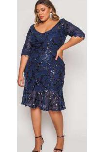 Vestido Almaria Plus Size Pianeta Festa Paetê Marinho Azul