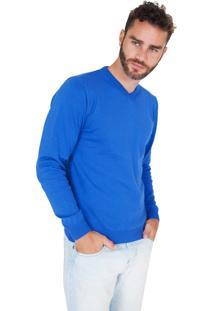 Suéter G'Dom Azul Decote V
